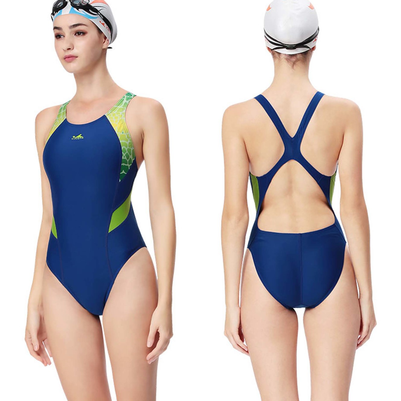 cb63a0af49 Yingfa 946-2 one piece swimsuit-racing & training swimsuit Blue swimsuit